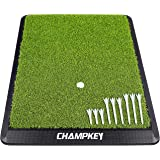 CHAMPKEY Premium Synthetic Turf Golf Hitting Mat   Heavy Duty Rubber Base Golf Practice Mat   Come with 1 Rubber Tee and 9 Pl