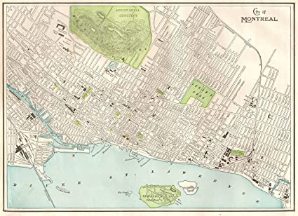 Amazon.com: Original Map of Montreal Canada 1901 Antique Montreal ...