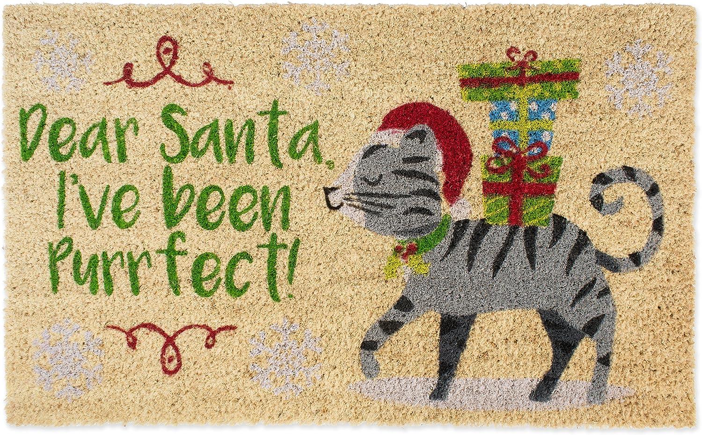 DII Indoor/Outdoor Natural Coir Holiday Season Doormat, 18x30, Dear Santa, I've Been Purrfect
