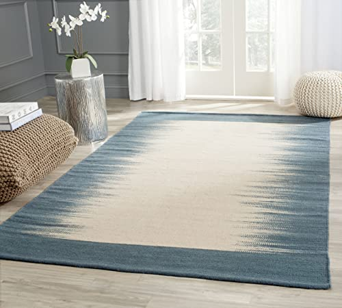 Safavieh Kilim Collection KLM961A Hand Woven Beige and Light Blue Premium Wool Area Rug 5 x 8