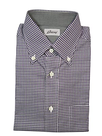 43b99196 Brioni Men's Burgundy Check Shirt Size S at Amazon Men's Clothing store: