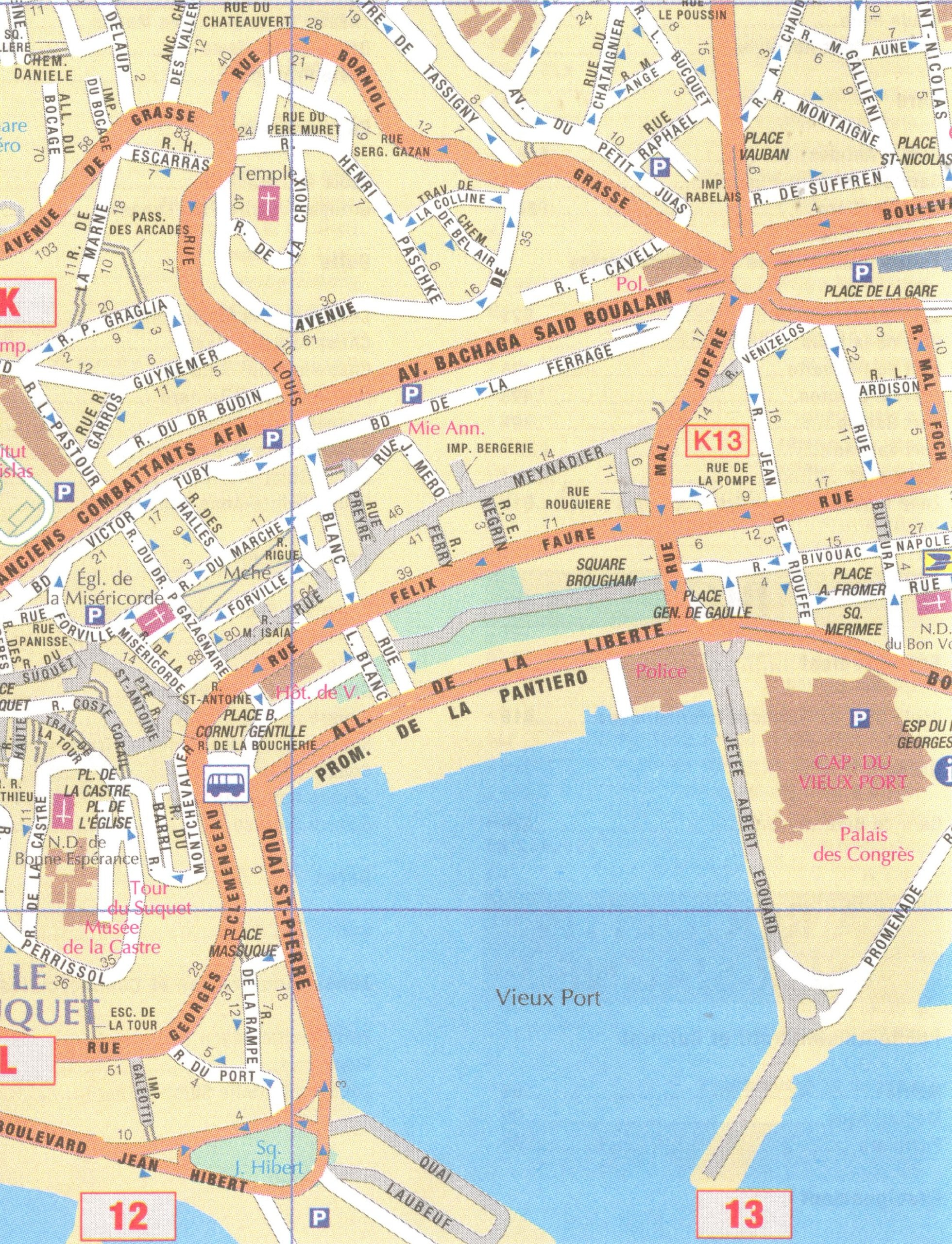 Cannes - Antibes (France) 1:13, 000 Street Map, GPS