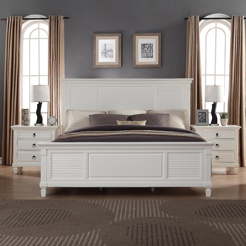 Dresser Nightstand and Chest King Bed Mirror Roundhill Furniture Regitina 016 Bedroom Furniture Set White