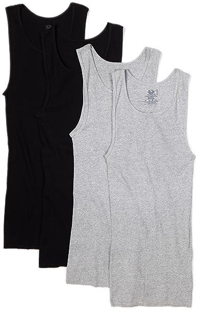 d26a4870cffb2 Fruit of the Loom Men's A-Shirt (Pack of 4), Black/Gray, Medium