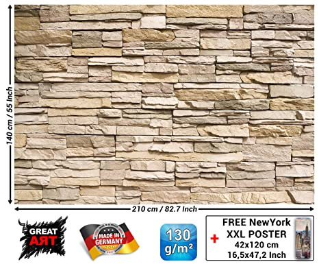 Tapiz de foto Óptica de piedras 3D Mural Decoración Tapices de piedras Muro Decoración de pared Pared de piedras Pizarra Arenisca Muro de piedras ...