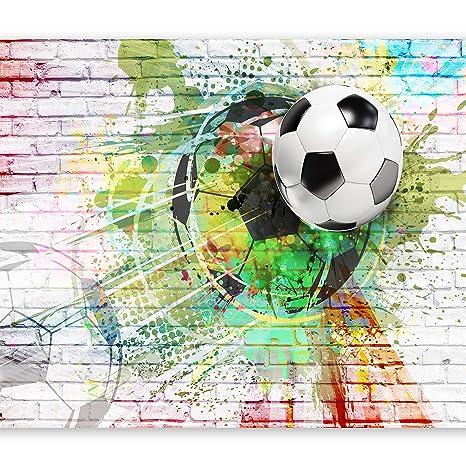murando - Fototapete Fussball 400x280 cm - Vlies Tapete - Moderne Wanddeko  - Design Tapete - Wandtapete - Wand Dekoration – Fußball Ziegel Graffiti ...