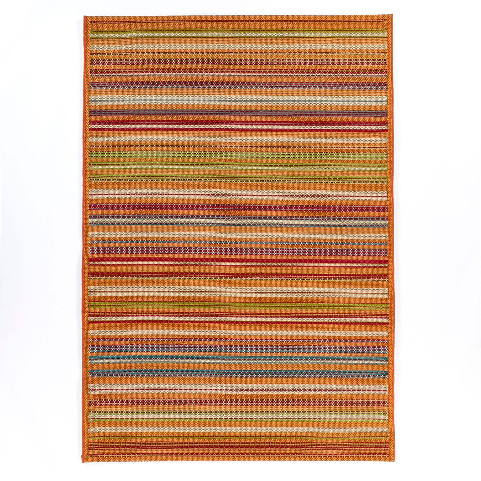 Carpet Art Deco Bellaire Collection Indoor Outdoor Rug, 5'3'' x7'5, Orange/Multicolor