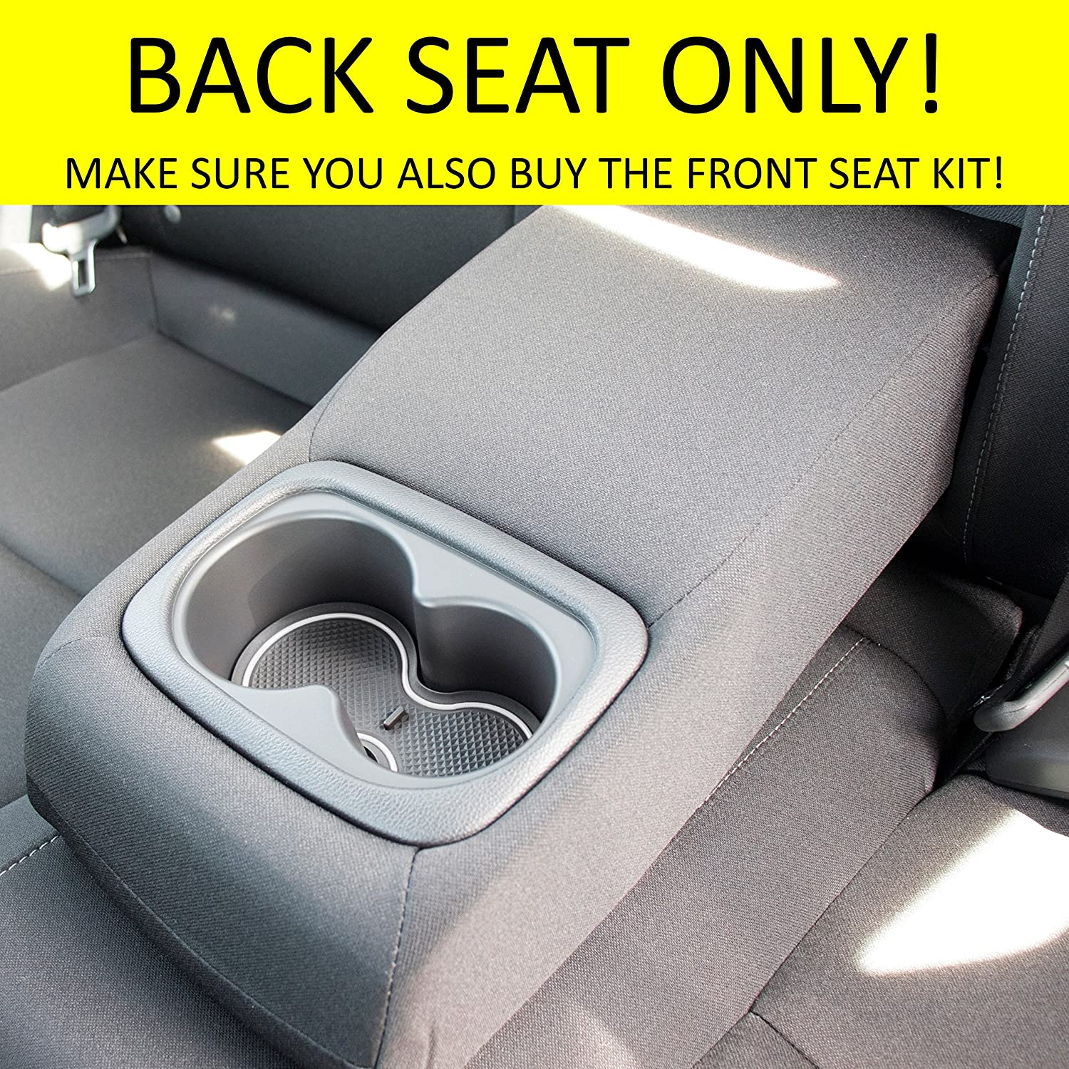 Custom Fit Cup Front Seat, Solid Black Door and Center Console Liner Accessories for Honda Civic 2019 2018 2017 2016 15-pc Set