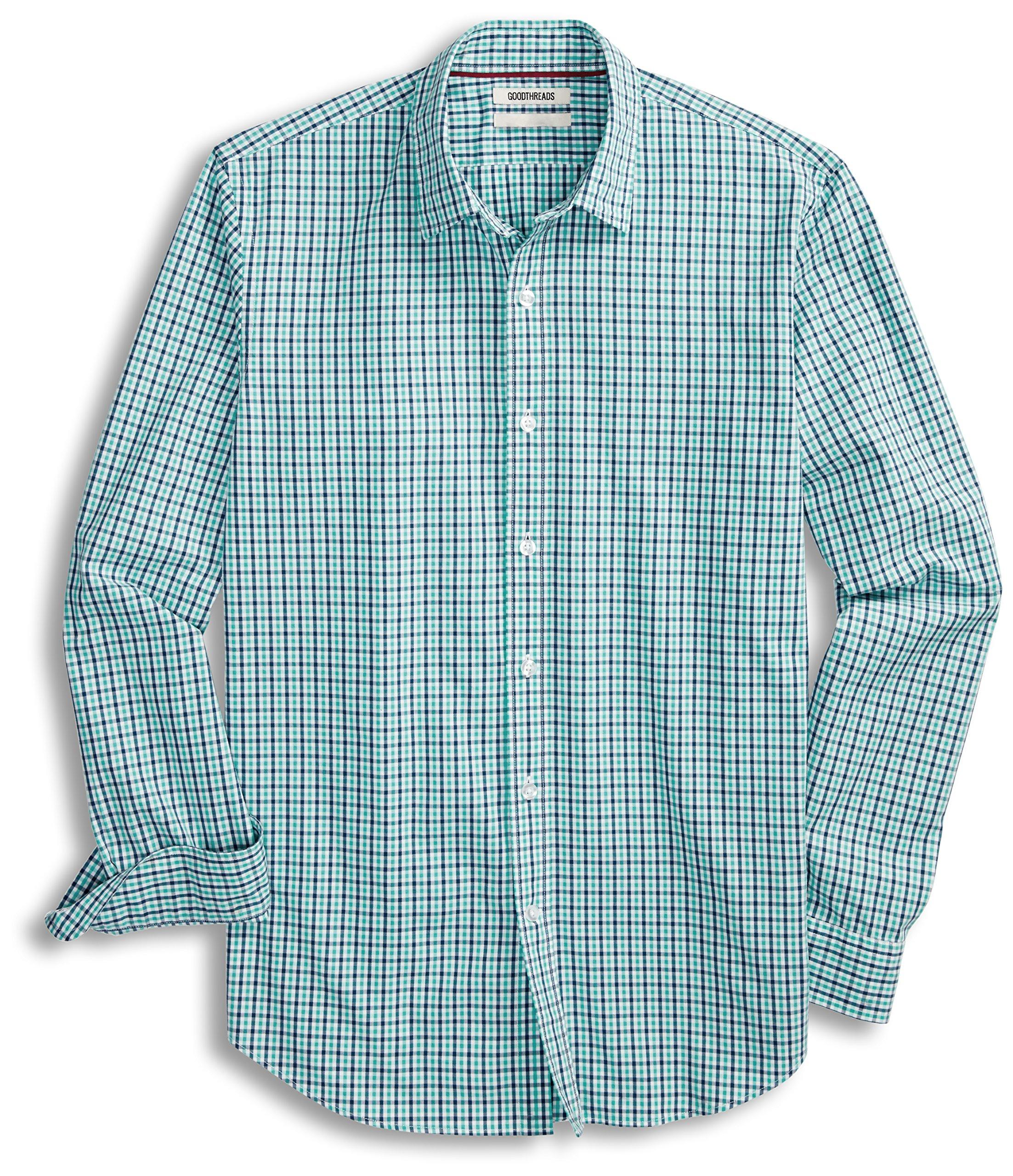 Goodthreads Men's Standard-Fit Long-Sleeve Gingham Plaid Poplin Shirt, Blue/Aqua, X-Large