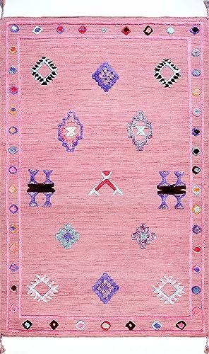 nuLOOM Handmade Pictographs Wool Rug, 8 3 x 11 , Pink