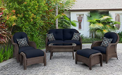 Hanover Outdoor Newport 6-Piece Woven Seating Set, Navy Blue