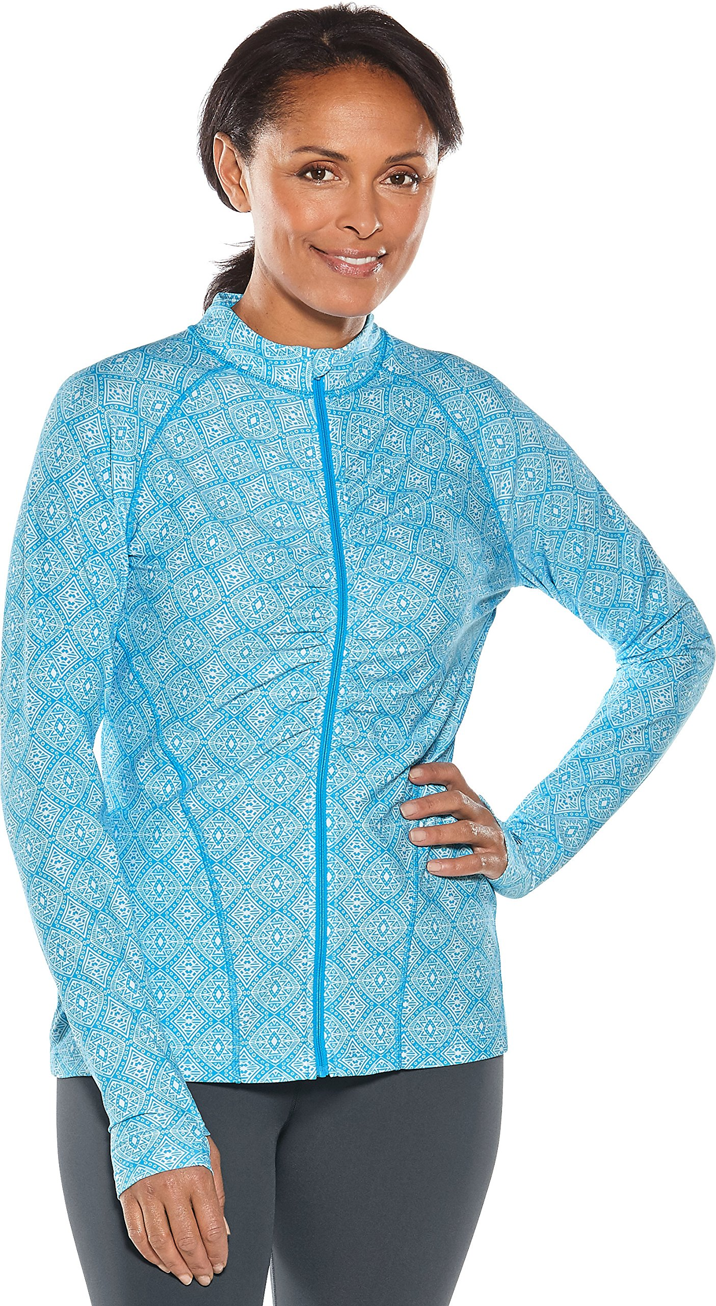 Coolibar UPF 50+ Women's Atitlan Ruched Swim Jacket - Sun Protective (Medium- Azure Diamond Tile) by Coolibar
