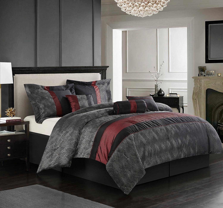 Stratford Park Tessa Comforter King Black Red