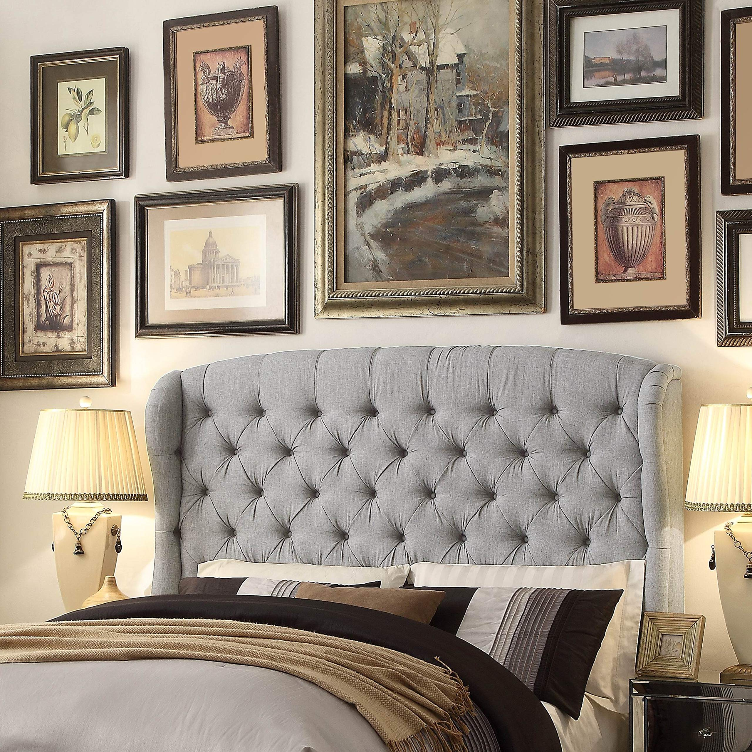 Moser Bay Furniture Feliciti Grey Tufted with Wings Queen Upholstery Headboard Transitional Fabric Textured Includes Hardware Wingback by Unknown