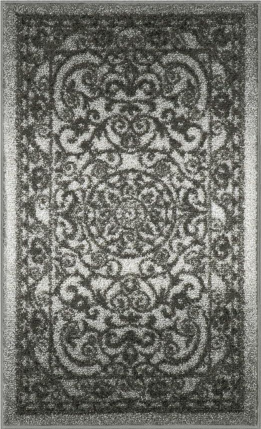 Amazon Com Mainstays India Medallion Textured Print Area Rug Runner Collection 1 8 X2 10 Gray Tonal Kitchen Dining