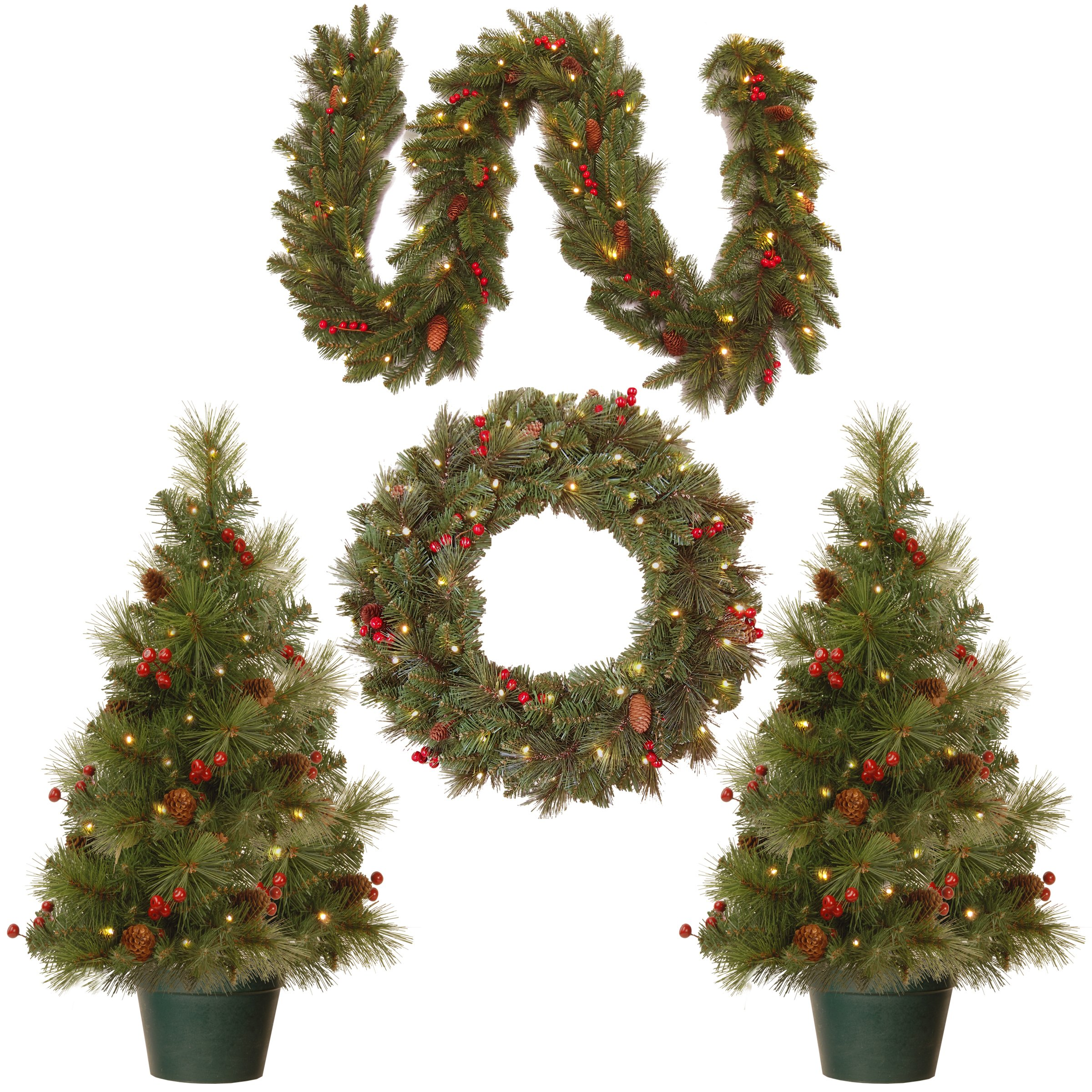 National Tree Holiday Decorating Assortment with 2 3 Foot Entrance Trees, 1 9 Foot by 8 Inch Garland and 1 24 Inch Wreath all with Warm White Battery Operated LED Lights (ED7-PRO-ASST) by National Tree Company