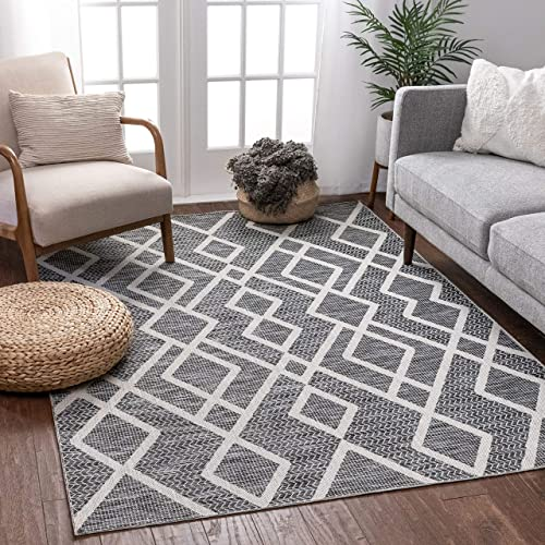 Well Woven Portland Sisal Arto Grey Contemporary Modern Geometric Tribal 3'11″ x 5'3″ Flatweave Area Rug