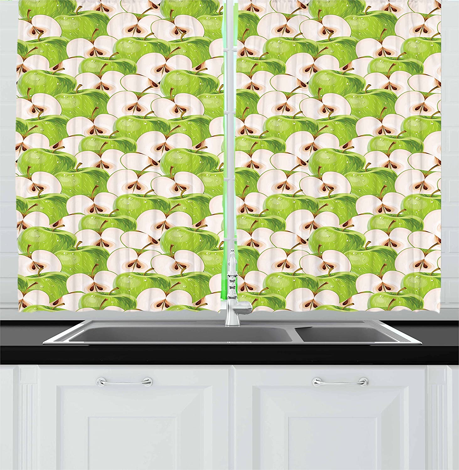 Lunarable Apple Kitchen Curtains, Fresh Green Apples and Slices with Water Drops Vivid Illustration, Window Drapes 2 Panel Set for Kitchen Cafe Decor, 55
