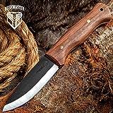 Bushmaster Bushcraft Explorer Fixed Blade Knife,  1095 Carbon Steel Blade, Zebra Wood Handle, Brass Pins and Lanyard Hole, Length 9 5/8 Inch