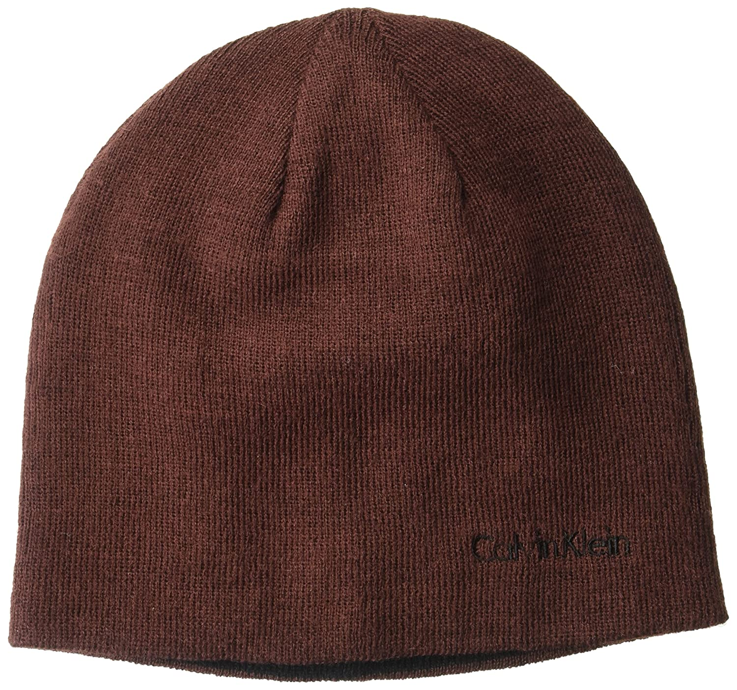 Calvin Klein Unisex Reversible Solid Winter Hat, Claret, One Size HCKHT293
