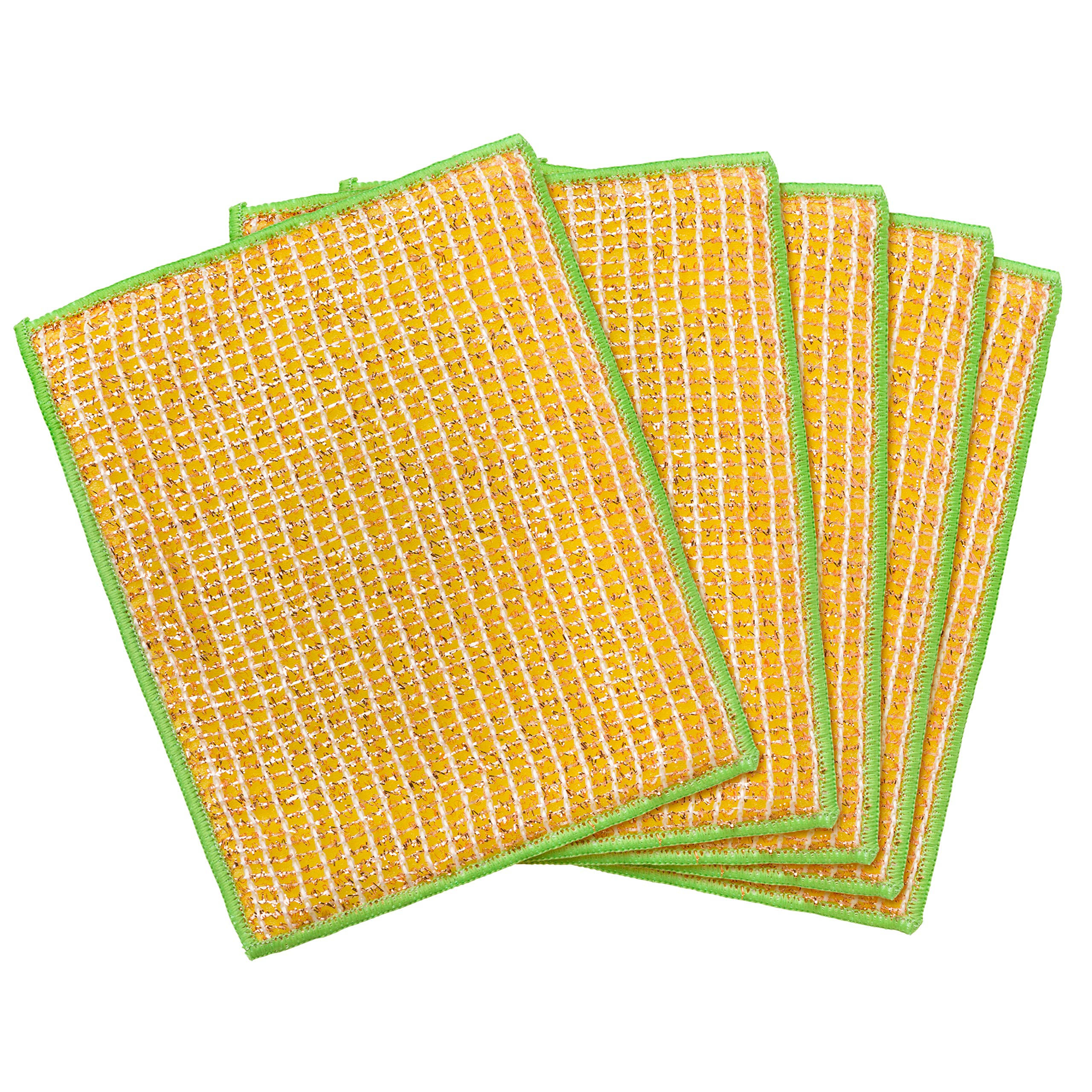 REDECKER Dual Sided Copper and Microfiber Cleaning Cloth, Set of 5, 7-3/4'' x 6'', Non-Abrasive Copper Effectively Scrubs, Absorbent Microfiber Wipes Surfaces Clean, Machine Washable, Made in Germany by REDECKER (Image #2)