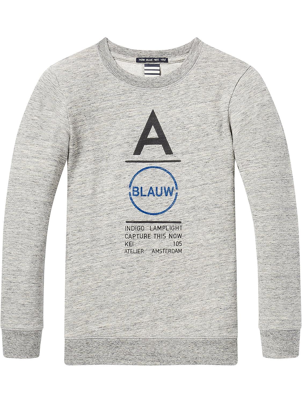 Scotch&Soda Shrunk Regular Fit Short Sleeve Tee with 'Blauw' Artwork, T-Shirt Gar?on, (Grey Melange 60), 140 (Taille Fabricant: 10)