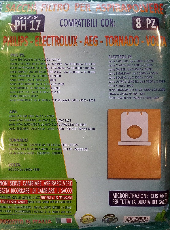 ph17 bolsas Filtro para aspiradora Philips – ELECTROLUX – AEG – Tornado – Volta 8 piezas: Amazon.es: Hogar