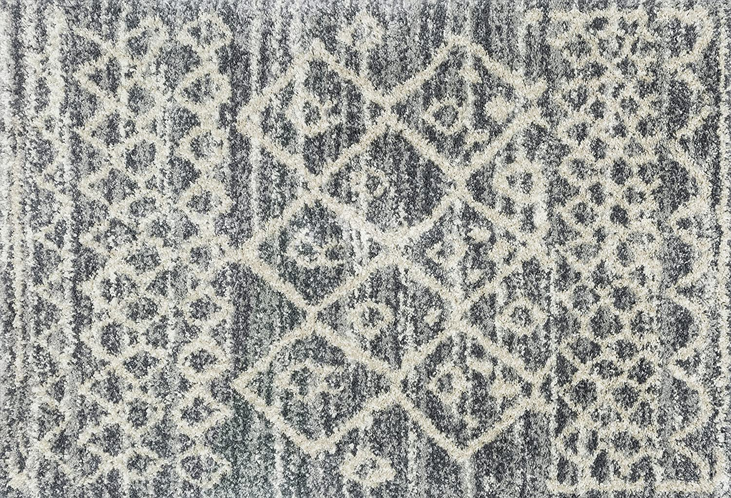 Loloi Rugs QNCYQC-02GTBE Quincy Shag Collection Area Rug 2'-3' x 12' Graphite/Beige
