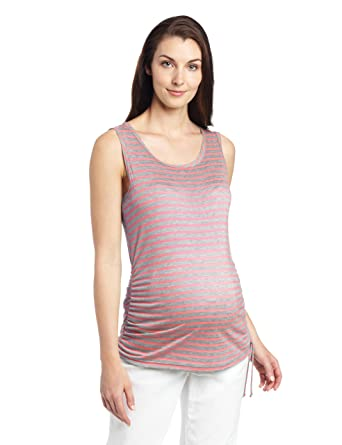 3b538b4d9d Amazon.com: Three Seasons Maternity Women's Maternity Stripe Tank Top With Side  Tie, Neon Pink/Grey, X-Large: Clothing
