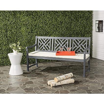 Safavieh PAT6738B Outdoor Collection Bradbury 3 Seat Bench, Ash Grey/Beige