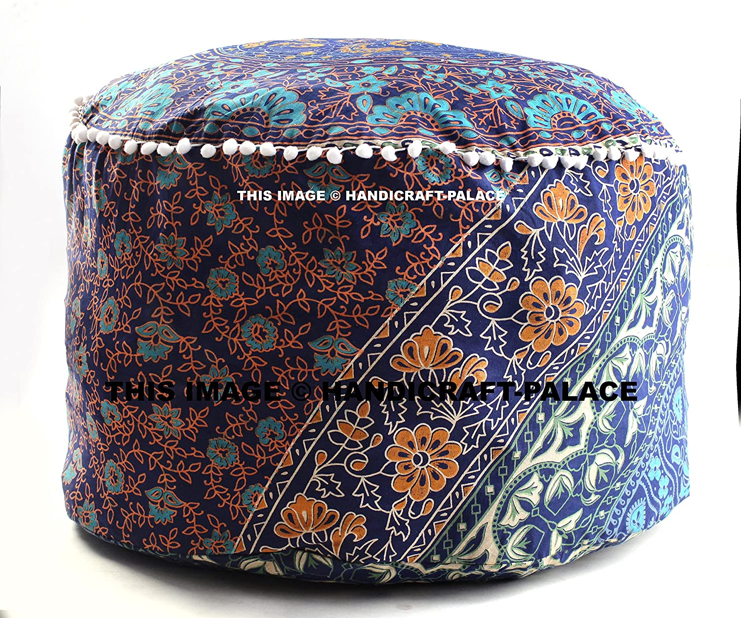 Indian Handmade Cotton Pouf Cover Floral Mandala Indian Pouf Ottoman Cover Round Poof Pouffe Foot Stool Floor Pillow Decor Home Decor Room Decor Sold By Handicraft-Palace MOS-9