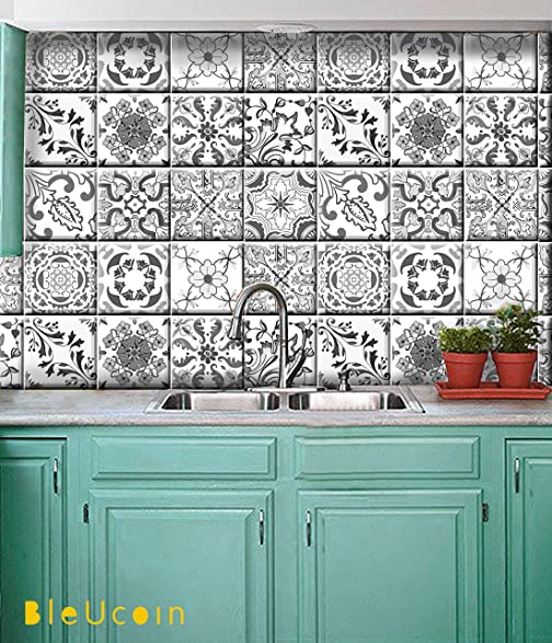 Grey Portugal Kitchen And Bathroom Backsplash Tile Stickers , Stair Riser  Stickers ,Peel U0026 Stick