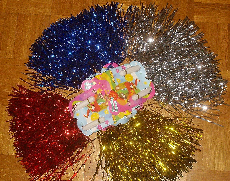 Wibel GmbH 4er Set Tanzwedel Pompon Cheerleader Puschel Funkelnd BLAU + Gold + Silber + ROT