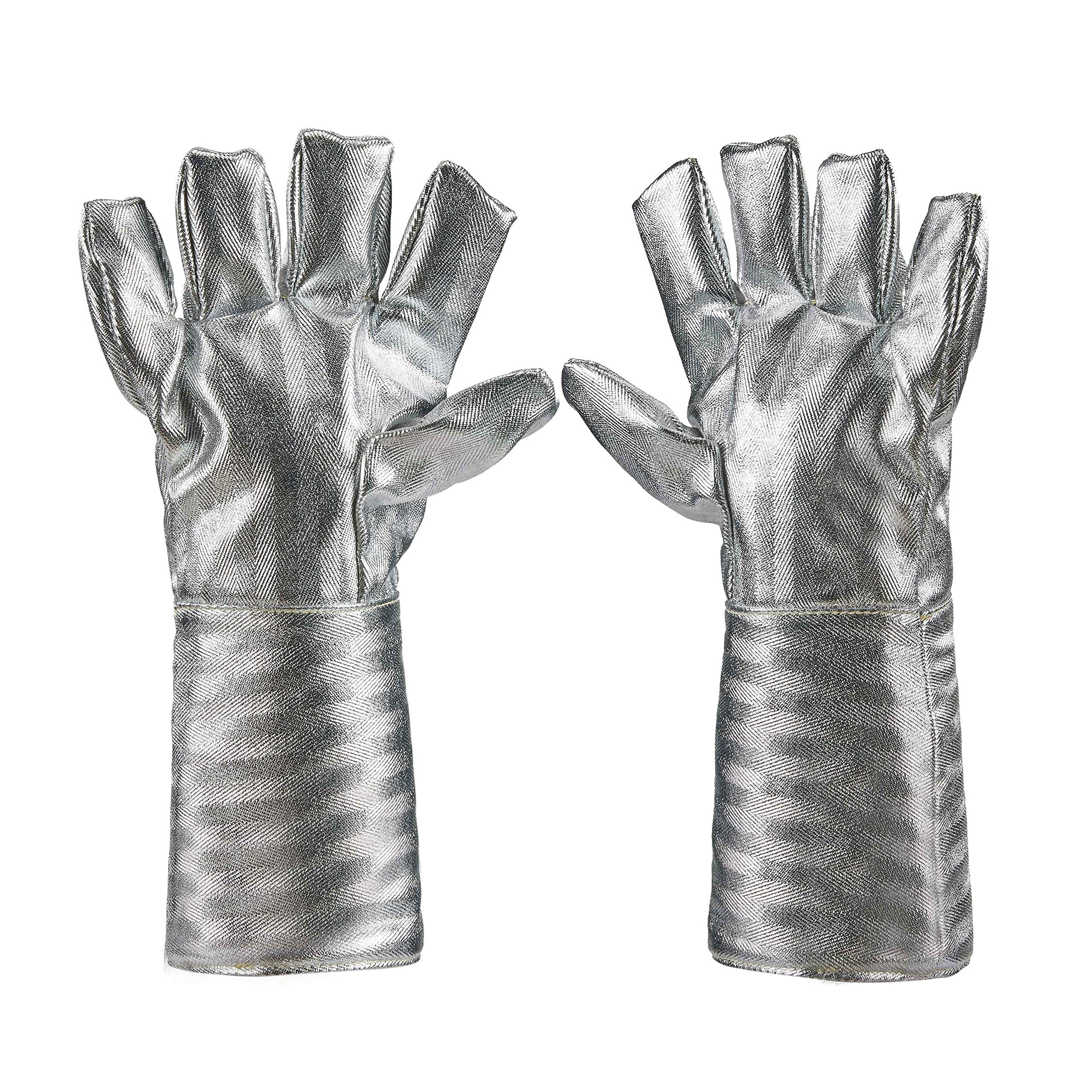 Holulo High Temperature Kevlar Aluminized Glove Heat Resistant Glove Welding Gloves Safety Work Glove (L-38cm) by Holulo