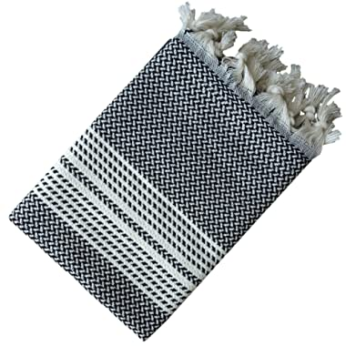 Dandelion - Herringbone Pattern - Set of 2 Naturally-Dyed Cotton Turkish Hand Towels Peshkir - 35x19 Inches - Black