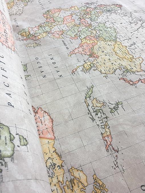 Amazon Com Homebuy Beige World Map 3 Designer Curtain Upholstery