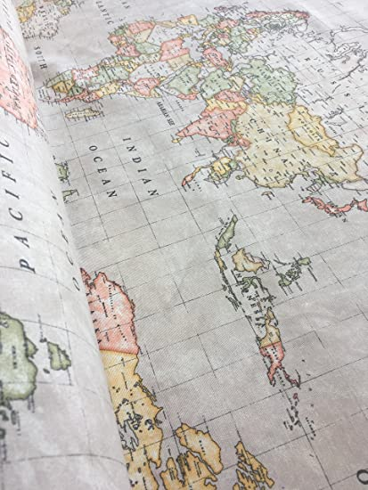 World Map Print Fabric.Beige World Map Print Designer Cotton Fabric Material For Curtain