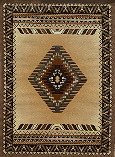 Rugs 4 Less Collection Southwest Native American Indian Area Rug Design R4L 143 Beige Berber 8 X10