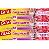 Glad Cling Wrap II Tangle-Proof Plastic Food Wrap - 180 Square Foot Roll - 3 Pack
