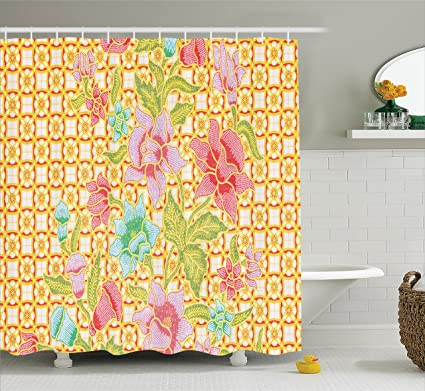 Lunarable Batik Shower Curtain Indonesian Pattern With Flowers On Bound Tied Floral Background Retro