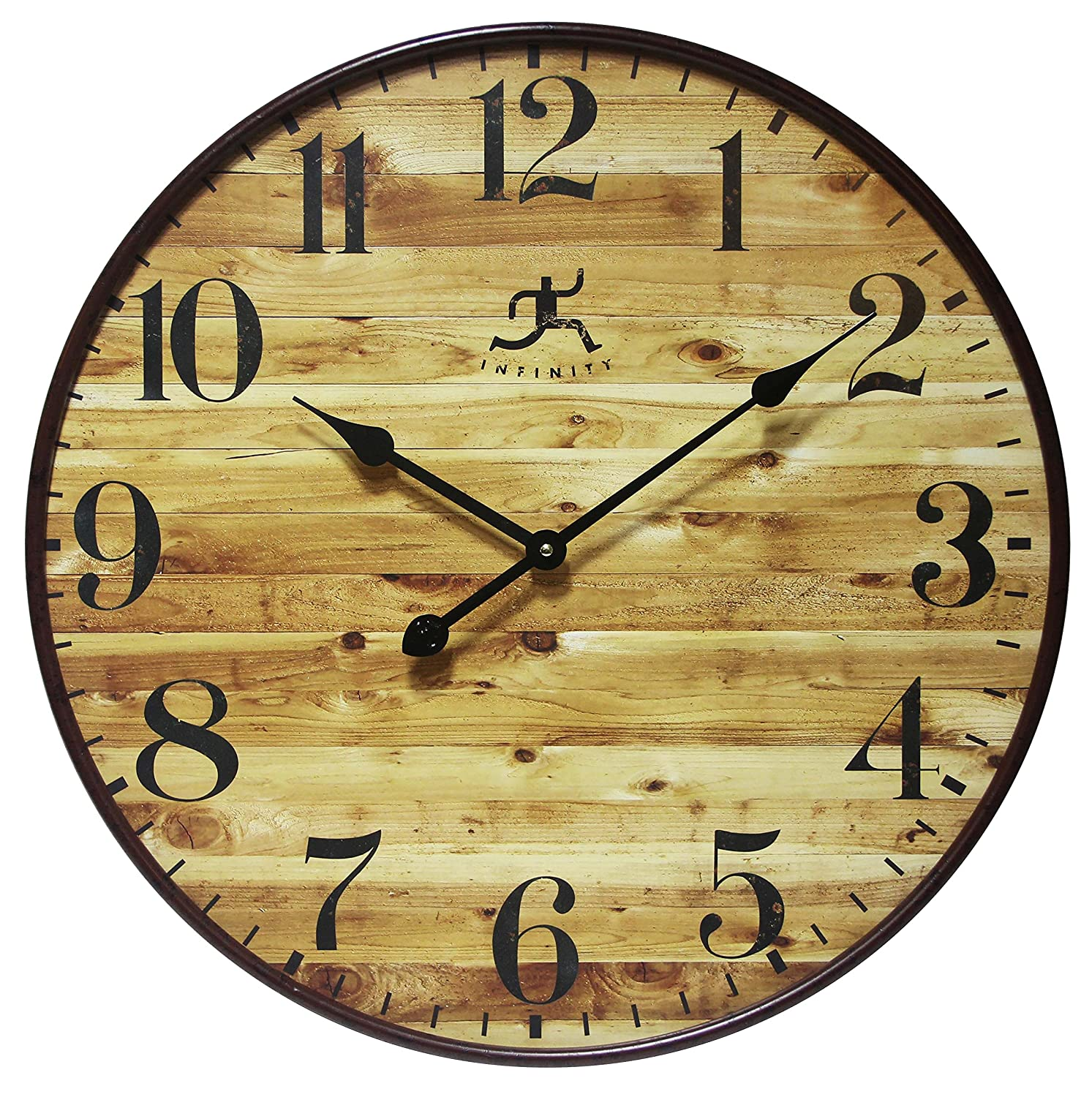 Amazon.com: 24 Inch Large Natural Wood-Style Wall Clock, Eaglewood ...