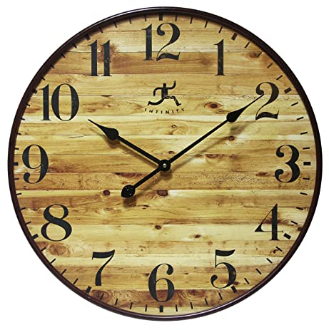 vibrant idea 30 inch clock. 24 Inch Large Natural Wood Style Wall Clock  Eaglewood by Infinity Instruments Amazon com