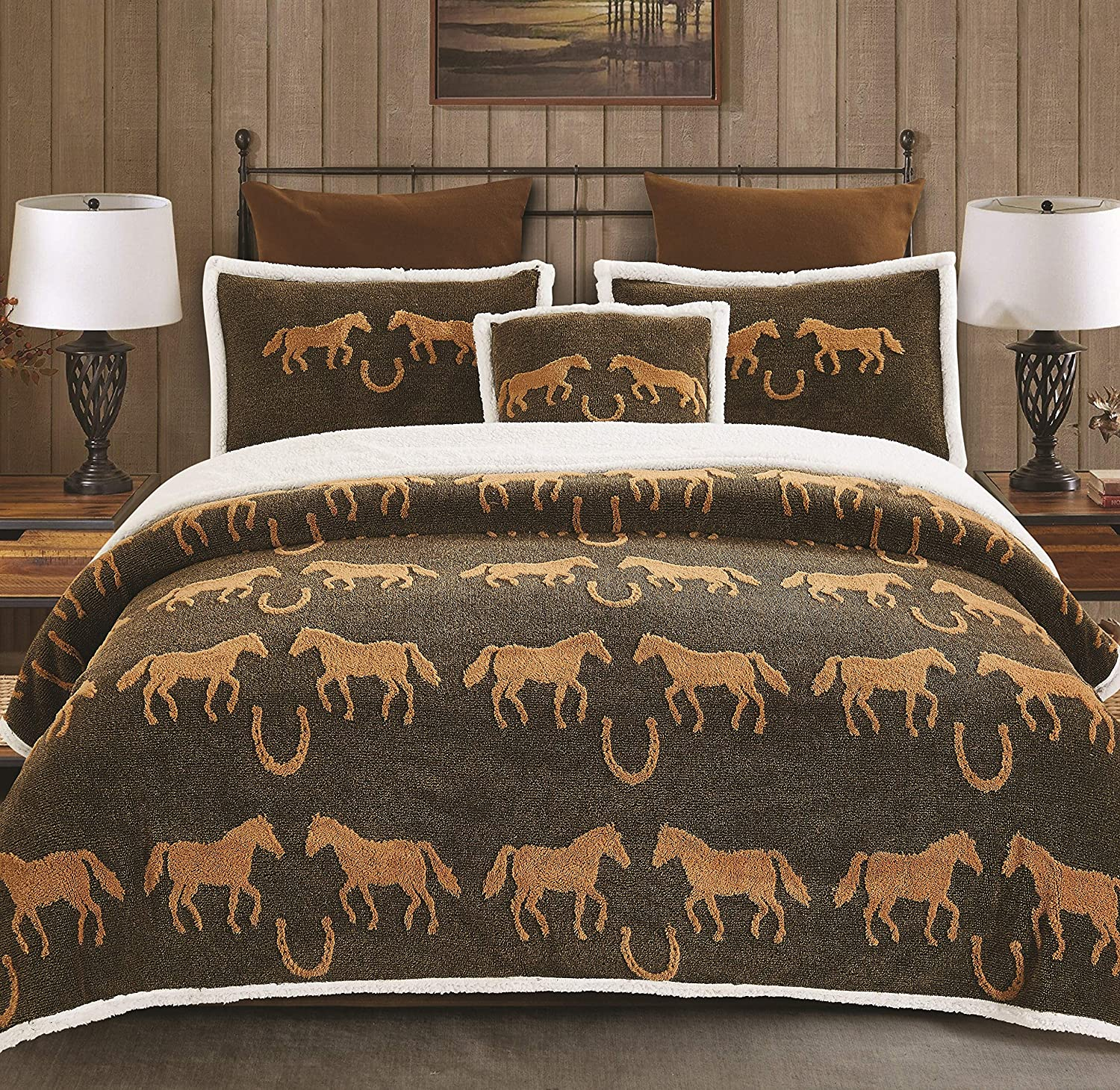 Virah Bella Horse and Horseshoe 4pc Comforter Blanket, Shams and Accent Pillow Set