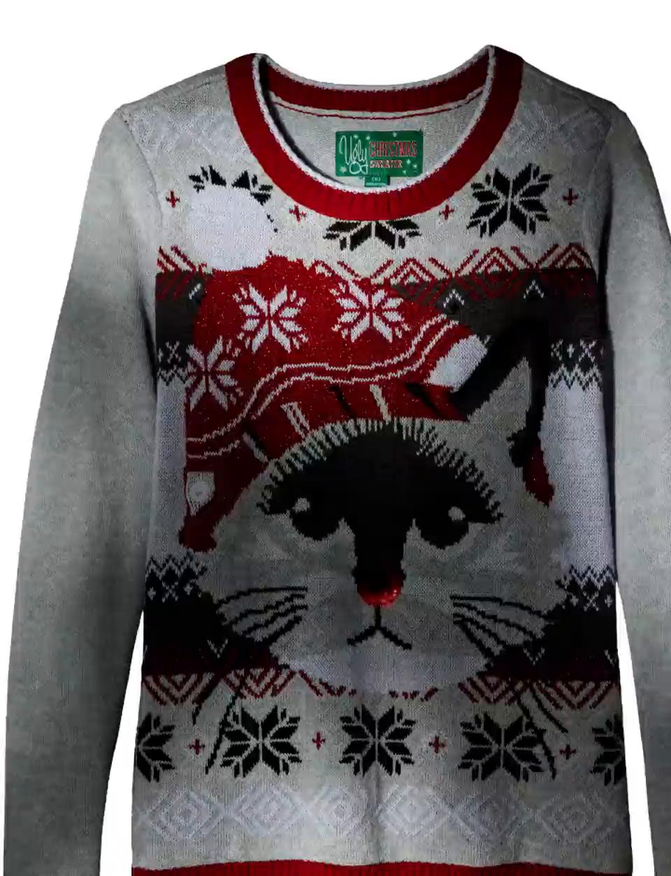 Amazon.com: Ugly Christmas Sweater Company Women\'s Light-up Cat Face ...