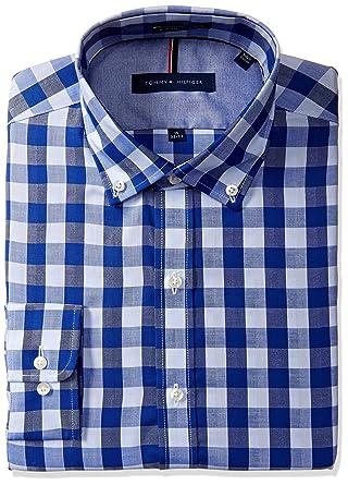 022c2ae5b Tommy Hilfiger Men's Slim Fit Non Iron Herringbone Gingham Shirt at Amazon  Men's Clothing store: