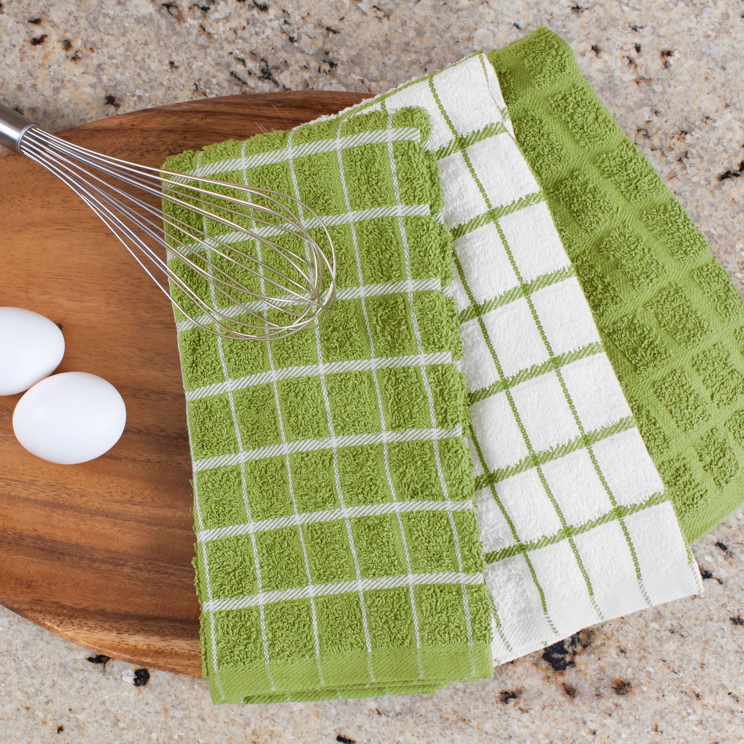 "Ritz 100% Cotton Terry Kitchen Dish Towels, Highly Absorbent, 25"" x 15"", 3-Pack, Cactus Green by Ritz (Image #8)"