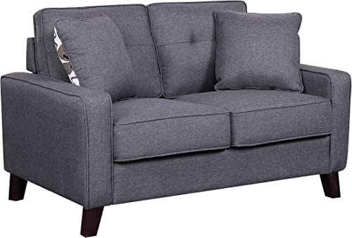 Container Furniture Direct Lillana Linen Upholstered Mid-Century Modern Loveseat with Two Accent Pillows, Dark Grey