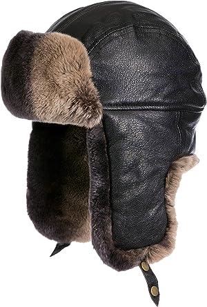 090d9e94e19 Lambskin Leather Trapper Hat with 2-Tone Rabbit Fur Trim at Amazon ...