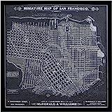 "Amazon Brand – Stone & Beam Modern Print of 1879 San Francisco Map Wall Art, Black Frame, 18"" x 18"""