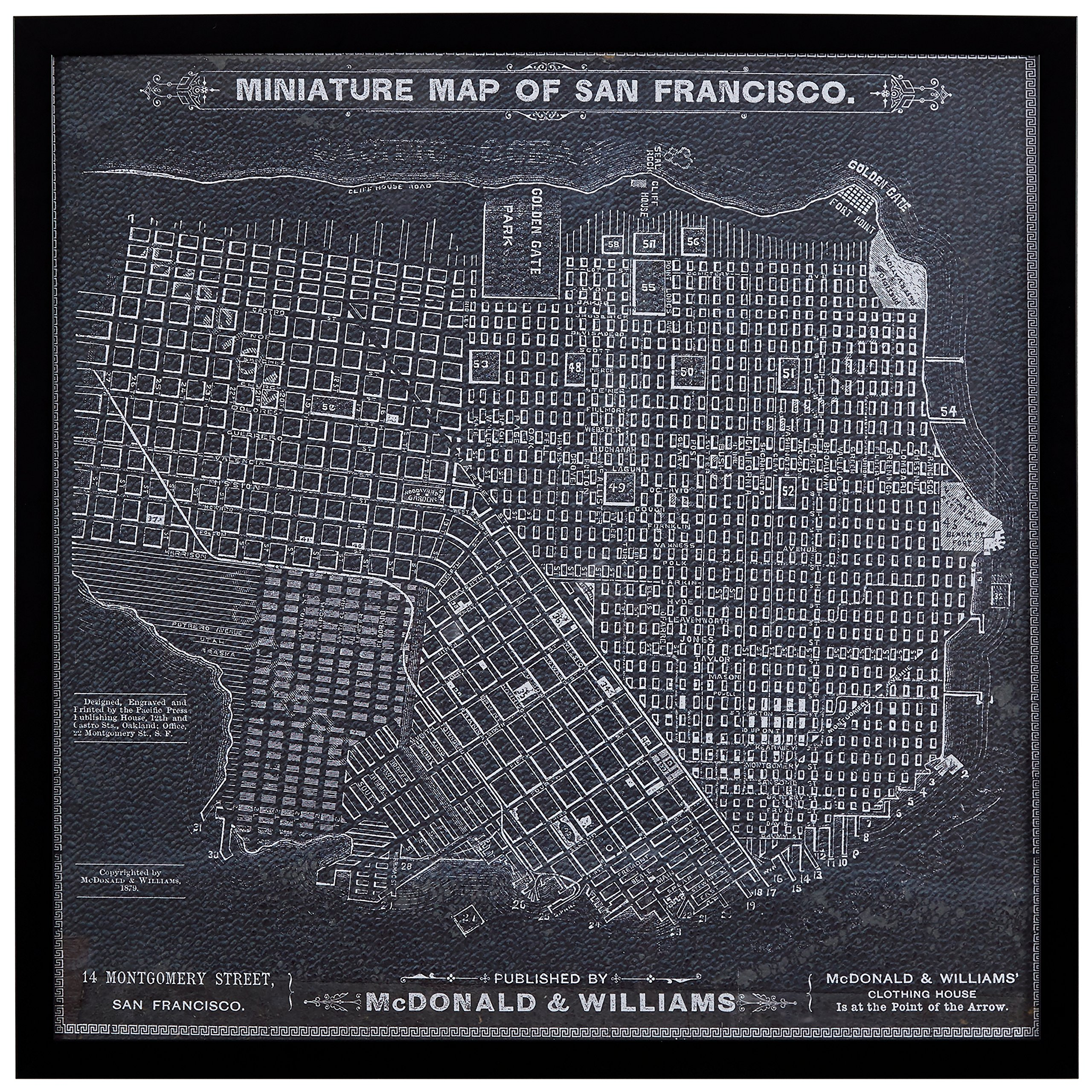 Modern Print of 1879 San Francisco Map, Black Frame, 26'' x 26'' by Stone & Beam